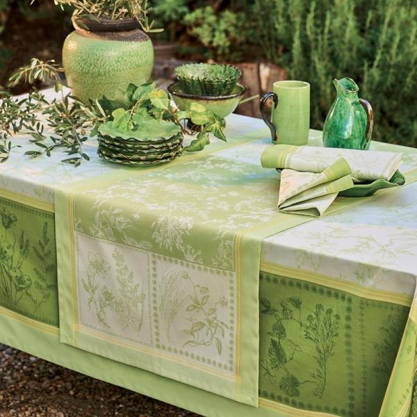 テーブルランナー エルボラ グリーン 撥水 ガルニエ・ティエボー